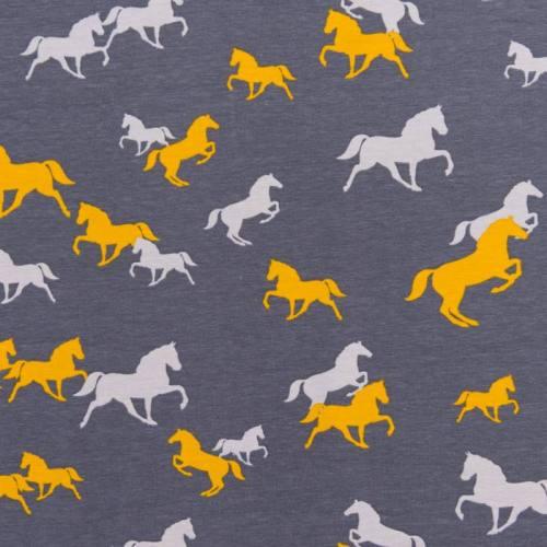 Jersey gris motif chevaux ocre et gris clair