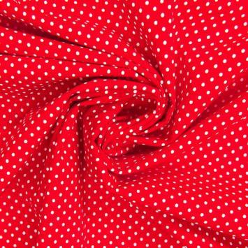 Popeline de coton rouge à pois blancs