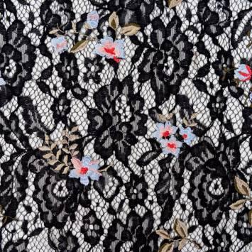 Dentelle guipure noire broderies fleurs pastel