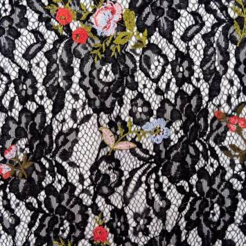 Dentelle guipure noire broderies fleurs colorées
