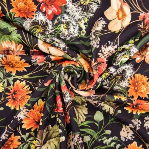 Tissu scuba crêpe impression digitale motif fleurs nuances orange