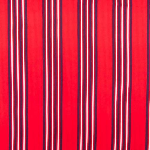 Tissu rayonne rouge rayures bleu marine et écrues