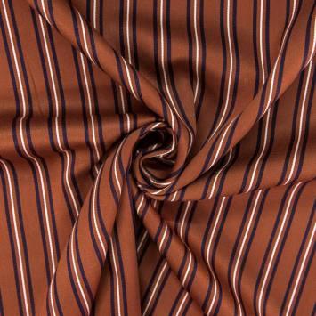Tissu rayonne marron rayures écrues et bleu marine