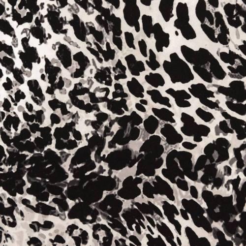 Tissu scuba crêpe imprimé léopard gris