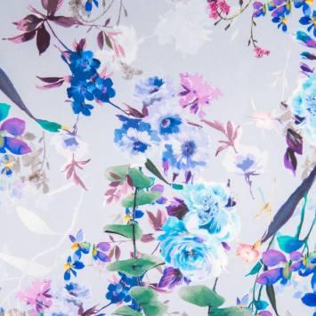 Tissu scuba crêpe impression digitale motif fleurs nuances de violet