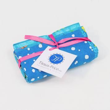Lot de 5 coupons 44X54cm bleu motif batik