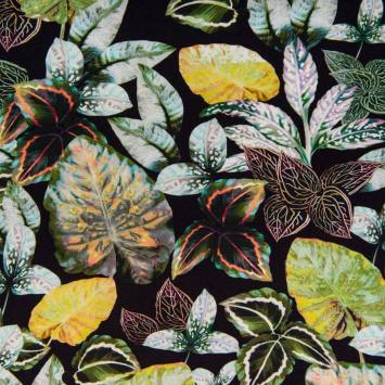 Jersey impression numérique motif feuille verte