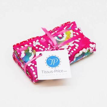 Lot de 5 coupons 44X54cm fuchsia motif batik
