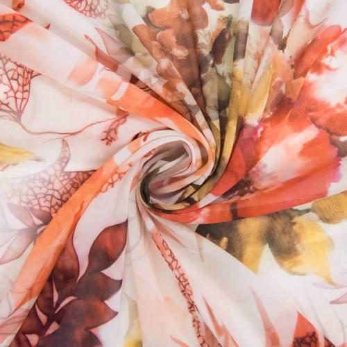 Mousseline blanche motif jungle fleuri orange
