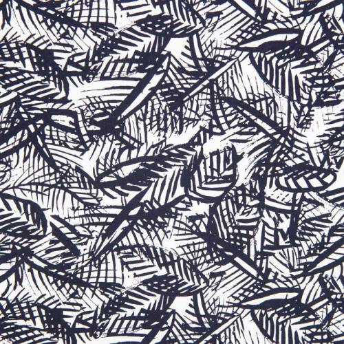Satin de coton bleu marine feuillage
