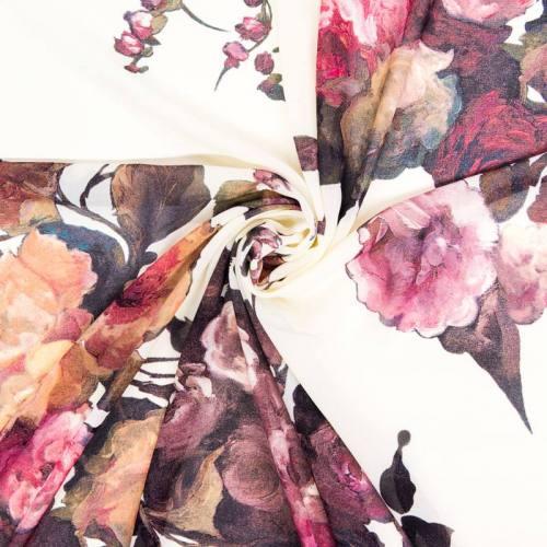 Mousseline ivoire motif roses pourpres