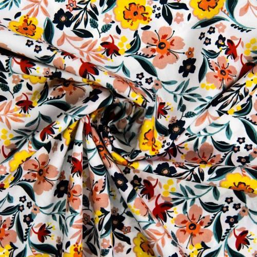 Popeline de coton blanche motif fleurs multicolores