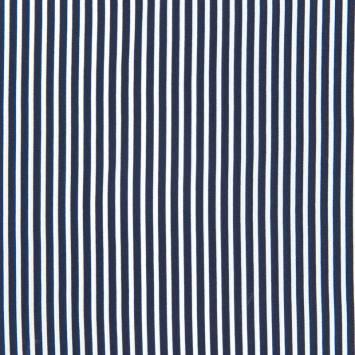 Tissu crêpe à rayures blanches et bleu marine