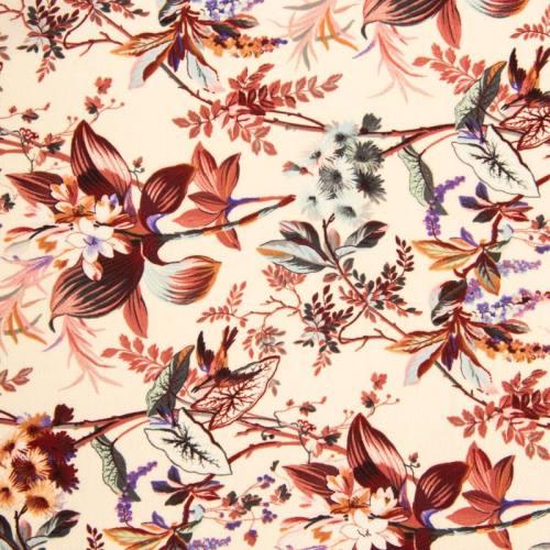 Tissu crêpe écru motif fleur bohème