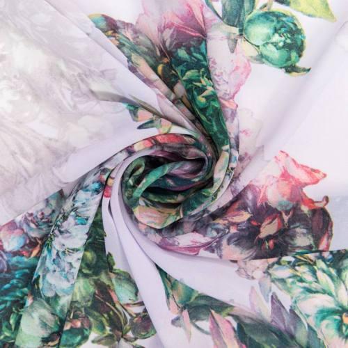 Mousseline lavande motif fleurs blanches et roses