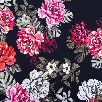 Tissu scuba crêpe noir imprimé fleur dessinée rouge