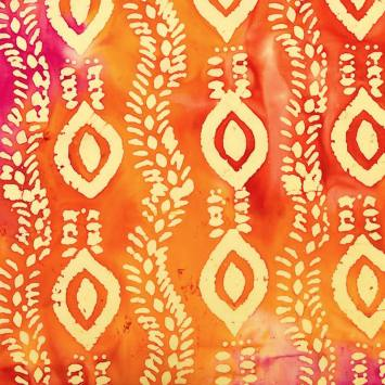 Coupon batik 44X54 cm orange motif ethnique