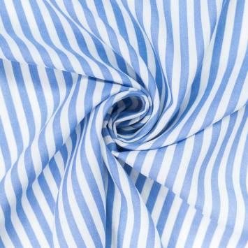 Tissu viscose rayures blanches et bleu ciel