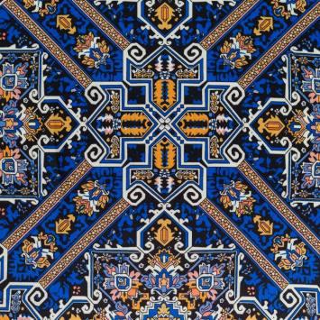Satin bleu et ocre imprimé square floral