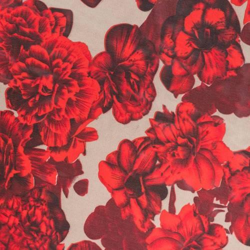 Mousseline de crêpe beige fleurs rouges