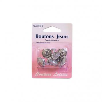 Bouton jeans nickelé x6