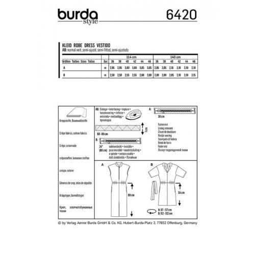 Patron Burda 6420 : Robe Taille 36-46