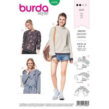 Patron Burda 6406 : Sweater Taille 34-44