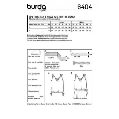 Patron Burda 6404 : Haut et tunique Taille 32-42