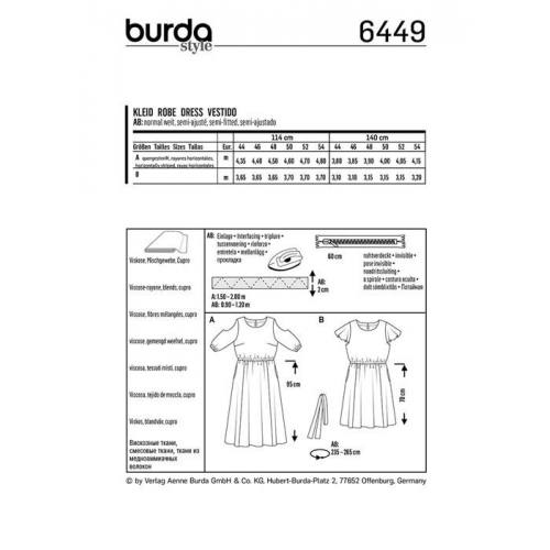 Patron Burda 6449 : Robe Taille 44-54