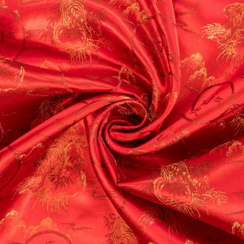 Satin asiatique rouge motif tigre