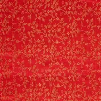 Satin asiatique rouge motif fleur rouge et dorée