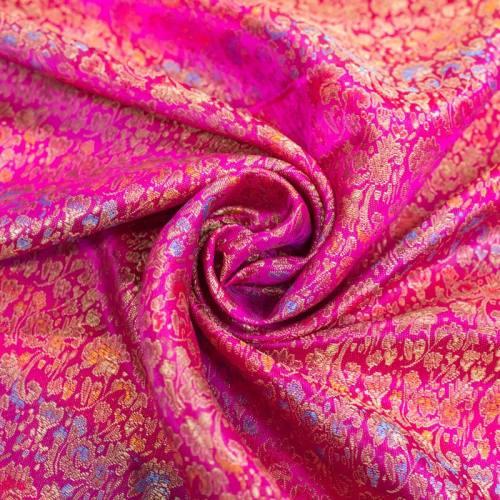 Satin asiatique rose motif fleur multicolore