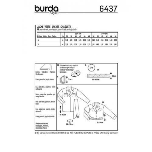 Patron Burda 6437 : Veste Taille 36-46