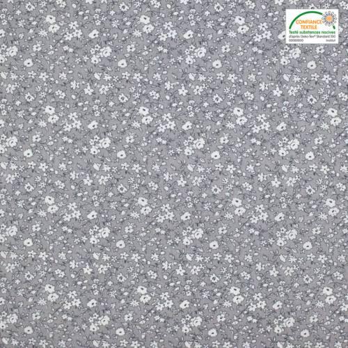 Coton liberty gris et blanc