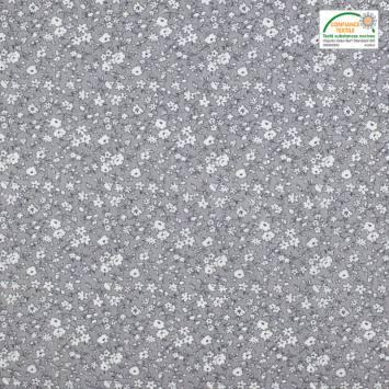 Coton petite fleur grise et blanche