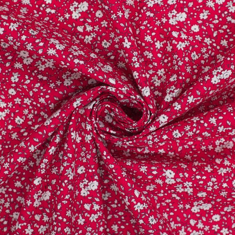 Coton petite fleur rouge et blanche