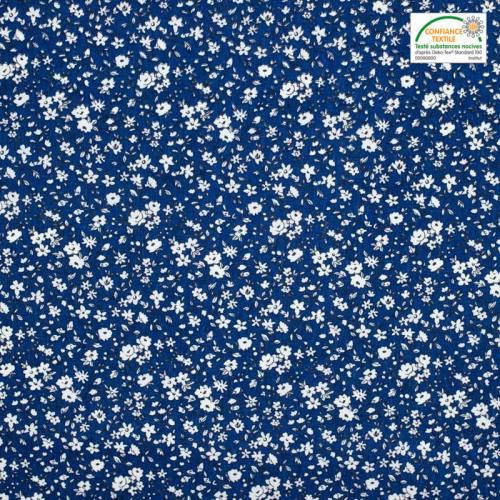 Coton bleu roi petites fleurs blanches leonie