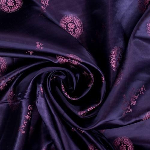 Satin asiatique réversible motif rond violet