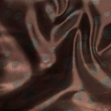 Satin asiatique réversible motif petit rond noir et marron