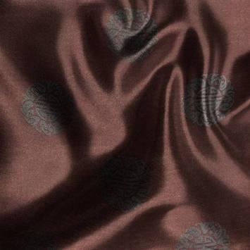 Satin asiatique réversible motif rond noir et marron