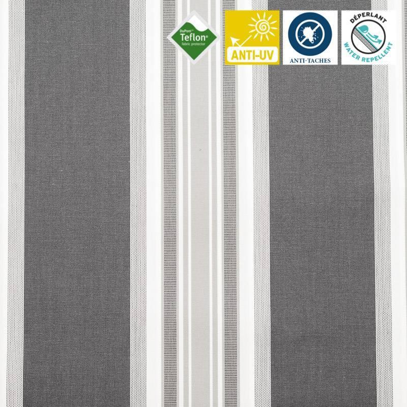 Toile extérieure Téflon grande largeur rayé gris