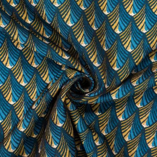 Jacquard bleu motif Gatsb jaune et or