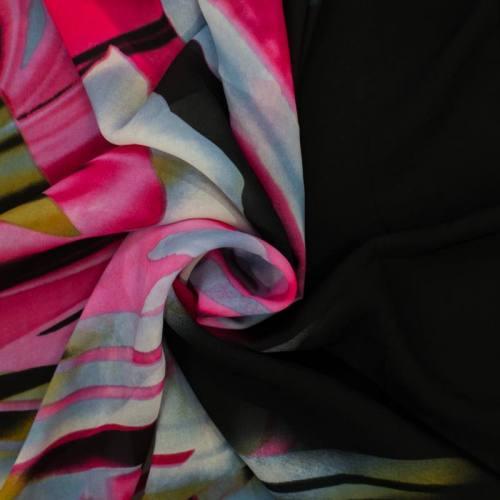 Mousseline multicolore motif mouvements roses et noirs