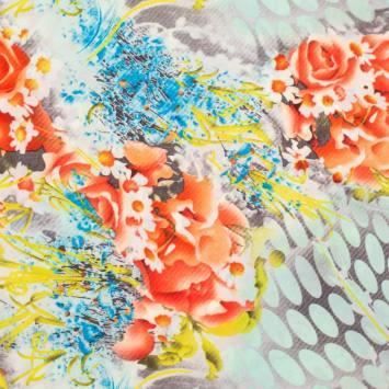 Satin imprimé champêtre orange et vert