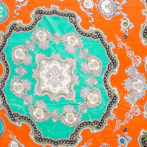 Satin imprimé foulard vert et orange