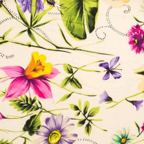 Mousseline crêpe stretch imprimée fleur et papillon