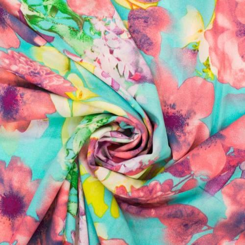Mousseline crêpe stretch imprimée floral