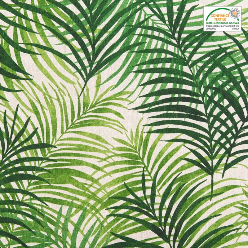 toile de lin motif feuillage vert. Black Bedroom Furniture Sets. Home Design Ideas