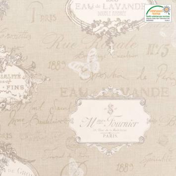 Coton bachette beige motif romantique grande largeur