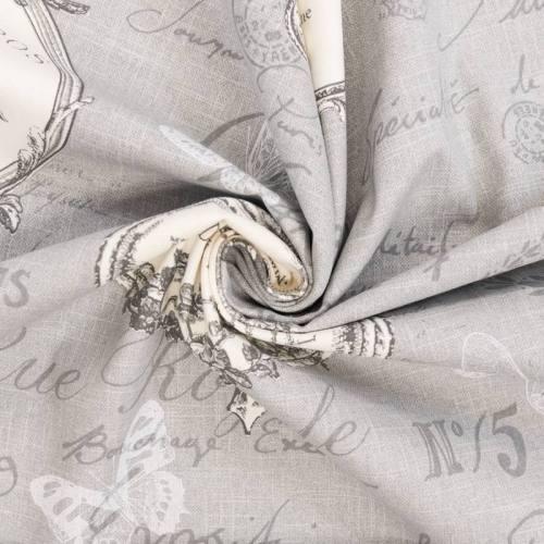 Coton bachette gris motif romantique grande largeur